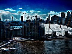 The Greenwich Dome (Steve Taylor (Photography)) Tags: greenwich dome art architecture digital crane building construction blue black white uk gb england greatbritain unitedkingdom london shape glow shadow summer boat cloud sky millenniumdome o2 thames