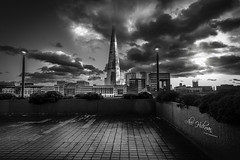 The Shard (Alec_Hickman) Tags: theshard london landmark city cityscape urban tower buildings architecture clouds sky blackandwhite monochrome noiretblanc landscape light shadow travel dramatic