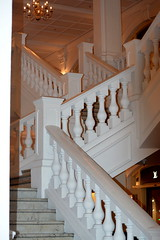 SINGAPORE, THE FAMOUS RAFFLES HOTEL, SINGAPORE.   LOVELY OLD MARBLE STAIRWAY. (vermillion$baby) Tags: theoldraffleshotel angles antique arch architecture building line old raffles repetition singapore stair stairway white light shadow structure bright