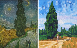 Road with Cypress and Star by Van Gogh 1890 and Anthony D. Padgett 2017