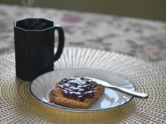 Photo #33-Hot Rooibos Vanilla Tea, Organic Chunky Peanut Butter & Raspberry  Jam On Spelt Sesame Toast (Happy Autumn Everyone!!!) Tags: 365the2018edition 3652018 day33365 02feb18 tea rooibos toast peanutbutter glutenfree sesame knife dish placemat cup ceramic black steam table cloth shiny diningroom jam raspberry chunky organic breakfast speltsesametoast
