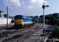 On our way back from Hols in the Isles of Scilly....a few days phottin in Cornwall fitted the bill nicely....paint was still drying on this....50050 (D400) Exeter RS yd-St Blazey deptl Lostwithiel 06-08-1987 (the.chair) Tags: 50050 d400 fearless exeterst blazey lostwithiel aug 1987