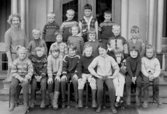 Class photo (theirhistory) Tags: children kids boys girls teacher group jumper trousers wellies shoer rubberboots class form school pupils students education