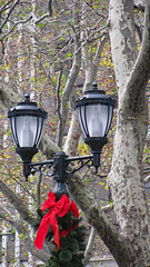 Bryant Park, NYC (Kurtsview) Tags: newyork nyc city park bryantpark lampost tree sycamore winter holiday red redbow