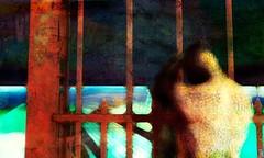 Divided / Artist : Mistero Hifeng (Bamboo Barnes - Artist.Com) Tags: surreal secondlife virtualart digitalart red dark bamboobarnes misterohifeng figure isolation divide metal gate rustic orange yellow blue texture manipulation green