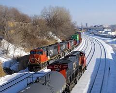 CN 149 & CN 310 passing (Michael Berry Railfan) Tags: cn canadiannational cn149 cn310 train freighttrain intermodaltrain cofc doublestacks stacktrain montreal ge generalelectric gevo es44ac cn2859 cn5732 cn5742 cn5673 sd75i emd gmd