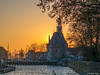 Sunset in Hoorn (✦ Erdinc Ulas Photography ✦) Tags: lenstagger harbour houses landmark hoofdtoren netherlands holland dutch hoorn buoy wall stone voc panasonic landscape focus sun sunset yellow orange donjon clock tower historic bay