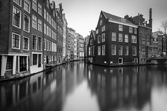 Cityflection (frank_w_aus_l) Tags: amsterdam monochrome reflection longexposure bw sw noiretblanc nikon d810 1635 netherlands water light gracht house noordholland niederlande nl