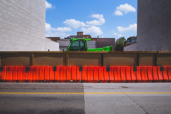 ordinary.time (jonathancastellino) Tags: series hamilton street leica m summicron sky cloud clouds barrier tractor truck vehicle construction orange green blue wall blank transition road division line