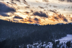 Sunset far way (mystero233) Tags: sunset sun dusk sky yellow orange clouds slovakia slovensko europe snv spisskanovaves forest trees tree winter snow 2017 landscape sunscape outdoor