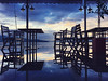 Reflections in some heavy rain puddles (VillaRhapsody) Tags: rain weather water sea mediterranean fethiye dusk sunset evening reflections furniture chairs tables restaurant challengeyouwinner