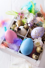 Colorful easter eggs in wooden box on white (lyule4ik) Tags: easter celebration holiday spring traditional background beautiful colorful decoration festive season symbol bright decorative egg food green happy paint seasonal springtime tradition white wood blue closeup concept conceptual design gift natural pattern present religion above box copyspace decorated wooden basket collection color colours creativity decorate festival fresh fun isolated life