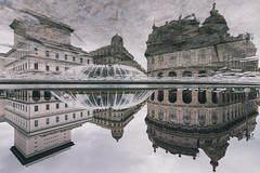 The Upside Down (FButzi) Tags: genova genoa liguria italia italy piazza de ferrari fontana fountain riflesso reflection clouds cloudy water stranger things