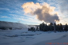 Old Faithful Sunrise (Images by William Dore) Tags: yellowstone nationalpark usa nikon nikondf sunrise snow winter winterlandscape light cold freezing steam eruption geysers morning landscape outdoors outside frost mist fog foggy