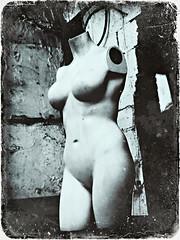 Manky Mannequinn of Margate (Jason 87030) Tags: mannequinn body legs arms bits boobs old bw bbw black white noir frame texture creepy weird odd margate kent shop unusual freaky