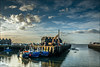 .H.A.R.B.O.U.R. (Kevin HARWIN) Tags: boat sea water wet beach sand clouds sky blue white red crane huts canon eos 70d 1755mm lens whitstable bubble south east kent uk engalnd britain