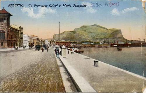 Palermo - Via Francesco Crispi e Monte Pellegrino