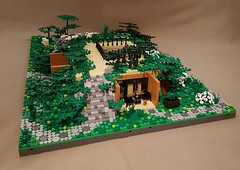 Hidden Home Park MOC stone plated steps (betweenbrickwalls) Tags: lego afol nature park house flowers architecture legoarchitecture art legoart swebrick pond