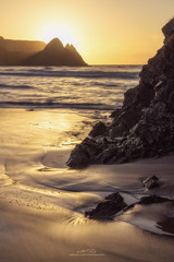 Trinity (AMBIENTLIGHT.PHOTOGRAPHY) Tags: threecliffsbay threecliffs gower southwales wales uk britain sunrise dawn golden beach cliffs waves rocks