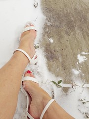 Snow feet (newport50) Tags: snow bare barefeet sexybarefeet sandals rednails red coldfeet feet foot arched cold ankles sexyheels heels shoefetish fetish erotic pretty