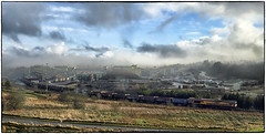 Misty Morning (Welsh Gold) Tags: misty morning onnllwyn wash plant 66103 swansea burrows train empty mea box wagons gwaencaegurwencoalmine anthracite dulais valley southwales