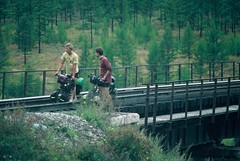 7d. Using a rail bridge to cross a huge river in the Swamp