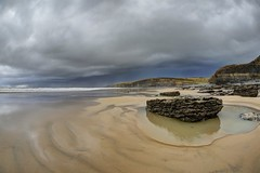 The thrills have gone (pauldunn52) Tags: dunraven beach southerndown glamorgan heritage coast wales sand wet rock pool cliffs storm clouds rain