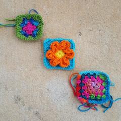 Three more candidates for crochet rehab (crochetbug13) Tags: crochetbug crochet crocheted crocheting crochetflowers crochetsquares grannysquares
