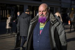 A Purple Beard (Leanne Boulton) Tags: portrait people urban street candid portraiture streetphotography candidstreetphotography candidportrait streetportrait streetlife man male face expression beard moustache colourful purple dyed yinyang style stylish fashion cardigan tone texture detail depthoffield bokeh naturallight outdoor light sunlight shade shadow city scene human life living humanity society culture lifestyle canon canon5d 5dmkiii 70mm ef2470mmf28liiusm color colour glasgow scotland uk