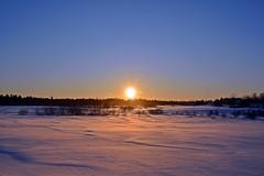 End of Winter's Day (n.e.janey) Tags: snow dusk sunsetcolors winterscene winterlandscape sunburst snowyfields
