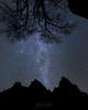 "Star Geyser (IronRodArt - Royce Bair (""Star Shooter"")) Tags: courtofthepatriarchs zion zionnationalpark nightphotography nightscape starrynight starrynightsky milkyway tree silhouette utah"