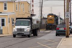No Passing Zone (Dan A. Davis) Tags: csx gp382 csao conrail conrailsharedassets marcushook pa pennsylvania streetrunning train freighttrain railroad locomotive