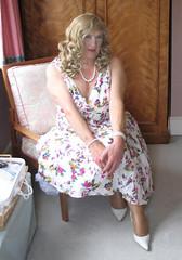 Coraflowdrsit (fionaxxcd) Tags: crossdresser tranny trannie tv stiletto longblonde rednail necklace petticoat cleavage tights flowerydress