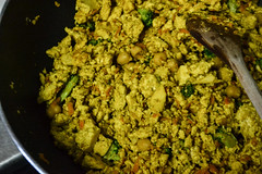 Making Tofu Scramble (Vegan) (Vegan Butterfly) Tags: vegetarian vegan food yummy tasty delicious breakfast meal tofu scramble scrambled eggs alternative broccoli frying pan wok fry cooking stir stirring yellow