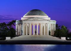 Dawn at the Jefferson Memorial (Insite Image) Tags: districtofcolumbia washingtondc jeffersonmemorial colorfulsky dawn bluehour purple purplesky nikon