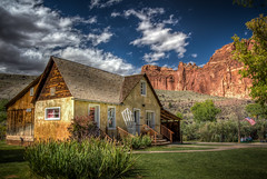 The Gifford Homestead (donnieking1811) Tags: utah fruita capitolreefnationalpark nationalpark thegiffordhomestead homemadefruitpies outdoors house mountains americanflag picnictables trees sky blue clouds scenery hdr canon 60d lightroom photomatixpro