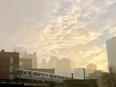 Misty morning commute (virtualphotographers) Tags: virtualphotographers brownline cta city chicago fog sunrise