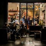 Winter night in a Modern Art café in Como, Italy. thumbnail