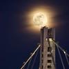 The moon and the bridge (cb|dg photo) Tags: moonrise aircraftwarninglights dusk light fullmoon easternspan sanfrancisco baybridge supermoon superbluebloodmoon