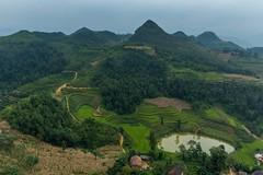 Pohled od vlajky (zcesty) Tags: výhled vietnam23 terasa rýže pole nádrž leteckýpohled krajina hory vietnam dosvěta hàgiang vn