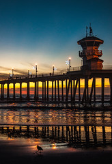 Huntingdon Beach Pier at Sunset (Greg Adams Photography) Tags: huntingtonbeach pier sunset pacific ocean shore beach dusk lights sunlight waves water reflections pilings bird silhouette silhouetted silhouettes sky blue gold yellow orange black southerncalifornia california ca calif hhsc2000