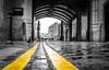 Walking The Line (Matthew Bickham) Tags: towerbridge toweroflondon london bridge cobbles double yellow lines blackwhite