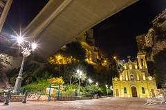 Under The Bridge (TVZ Photography) Tags: bridge lamppost streetlight saintedevotechapel chapelle church religion frenchriviera cotedazur monaco montecarlo lacondamine landscape city cityscape night evening longexposure sony a7r voigtlander 21mm ultron