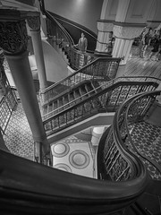 downstairs-2 (Mariasme) Tags: qvb stairs monochrome blackandwhite interior challengeyouwinner cyunanimous