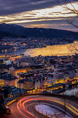 Streets of Bergen, Norway (Paulius Bruzdeilynas) Tags: bergen norway norge norwegian city evening winter sunset road street fjord water mountain citylights travel trip holiday sony sonyalpha sonya7ii