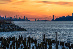 NYC (MadMartigen) Tags: yonkers ny newyork hudsonvalley hudsonriver empirestatebuilding oneworldtradecenter georgewashingtonbridge newyorkcity nyc sunset city westchester