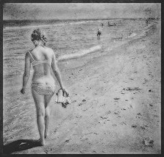 Walking on the beach... (iEagle2) Tags: woman wife water bra bw blackandwhite blackwhite beach ehefrau denmark shore summer