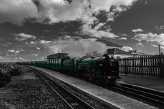 Typhoon (selvagedavid38) Tags: dungeness railway train steam engine romney hythe dymchurch station passengers transport rail kent black white colour splash
