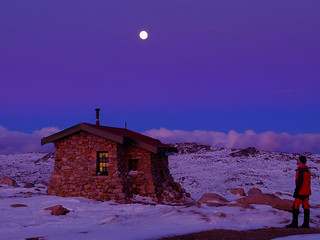Seamans Hut Moonlit Night