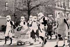 The Death Star Goes Bananas (kirstiecat) Tags: chiditarod chicago urbanitarod deathstar bananas starwars people strangers charity costumes ukrainianvillage wickerpark shoppingcart race monochrome monochromemonday surreal blackandwhite noiretblanc canon cinematic street moment